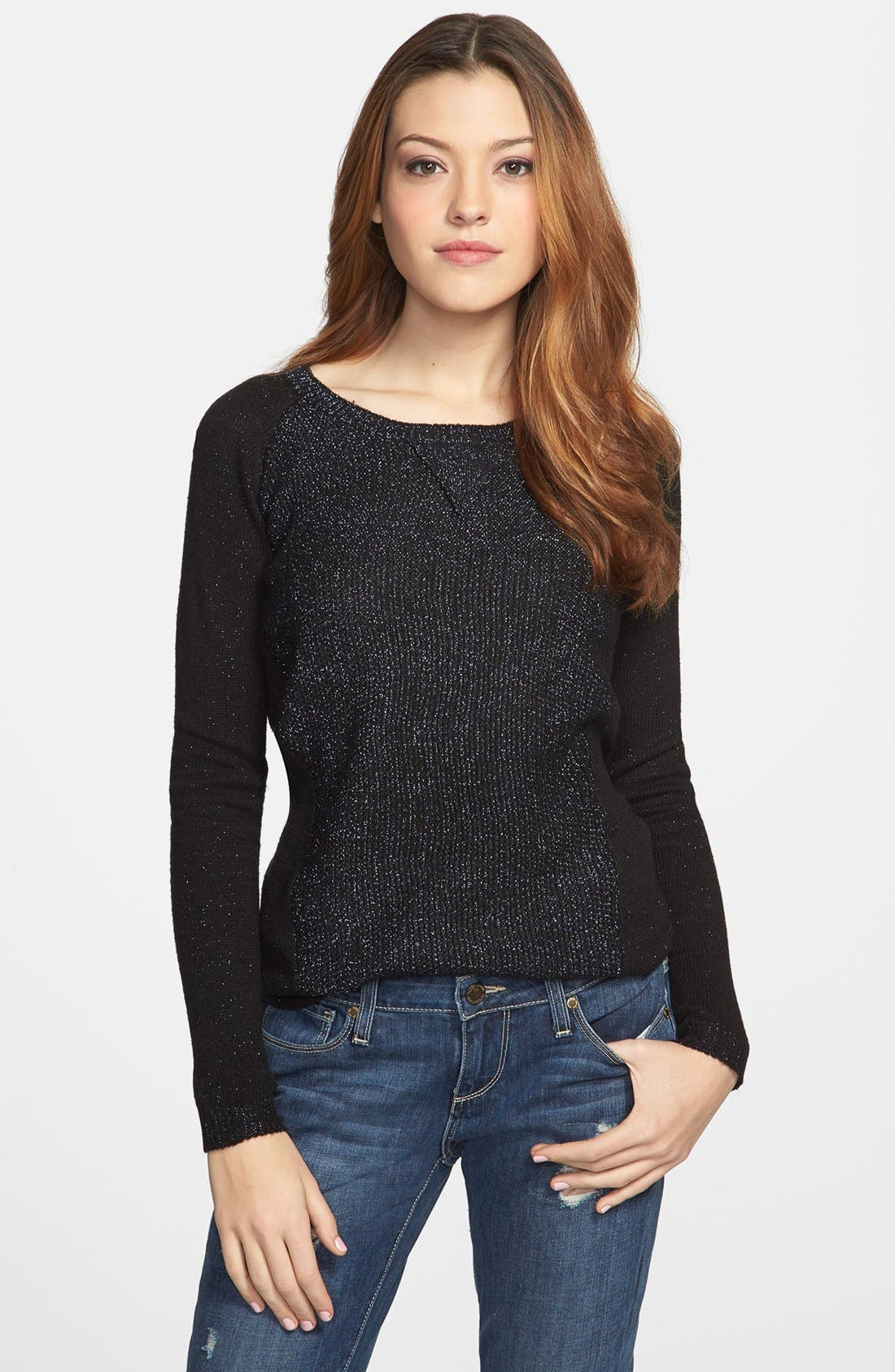 Main Image - Dex Colorblock Metallic Knit Tunic Sweater