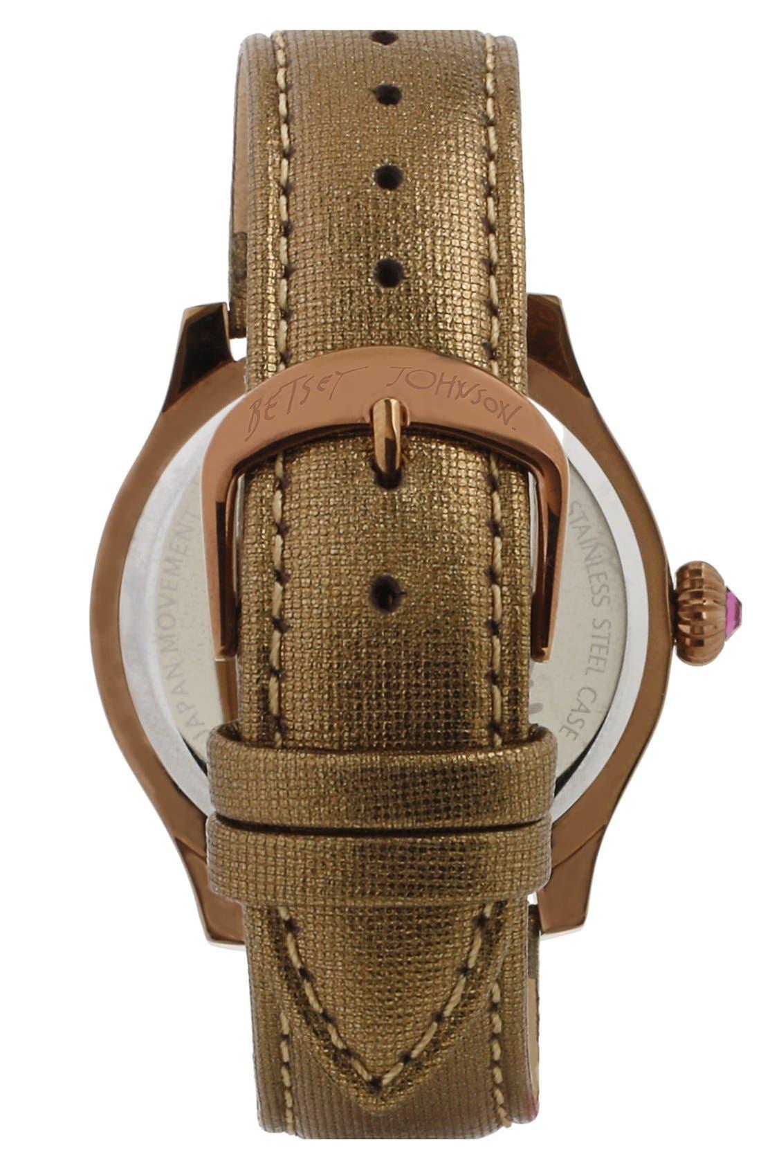 Alternate Image 2  - Betsey Johnson 'Bling Bling Time' Owl Dial Watch, 40mm