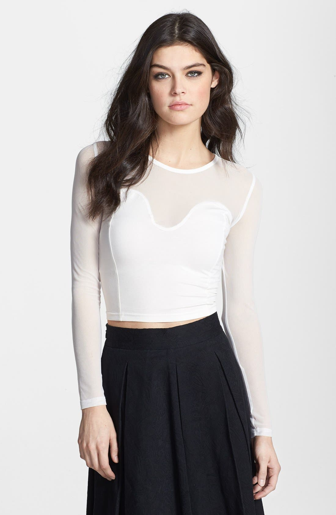 Alternate Image 1 Selected - Glamorous Illusion Bustier Crop Top