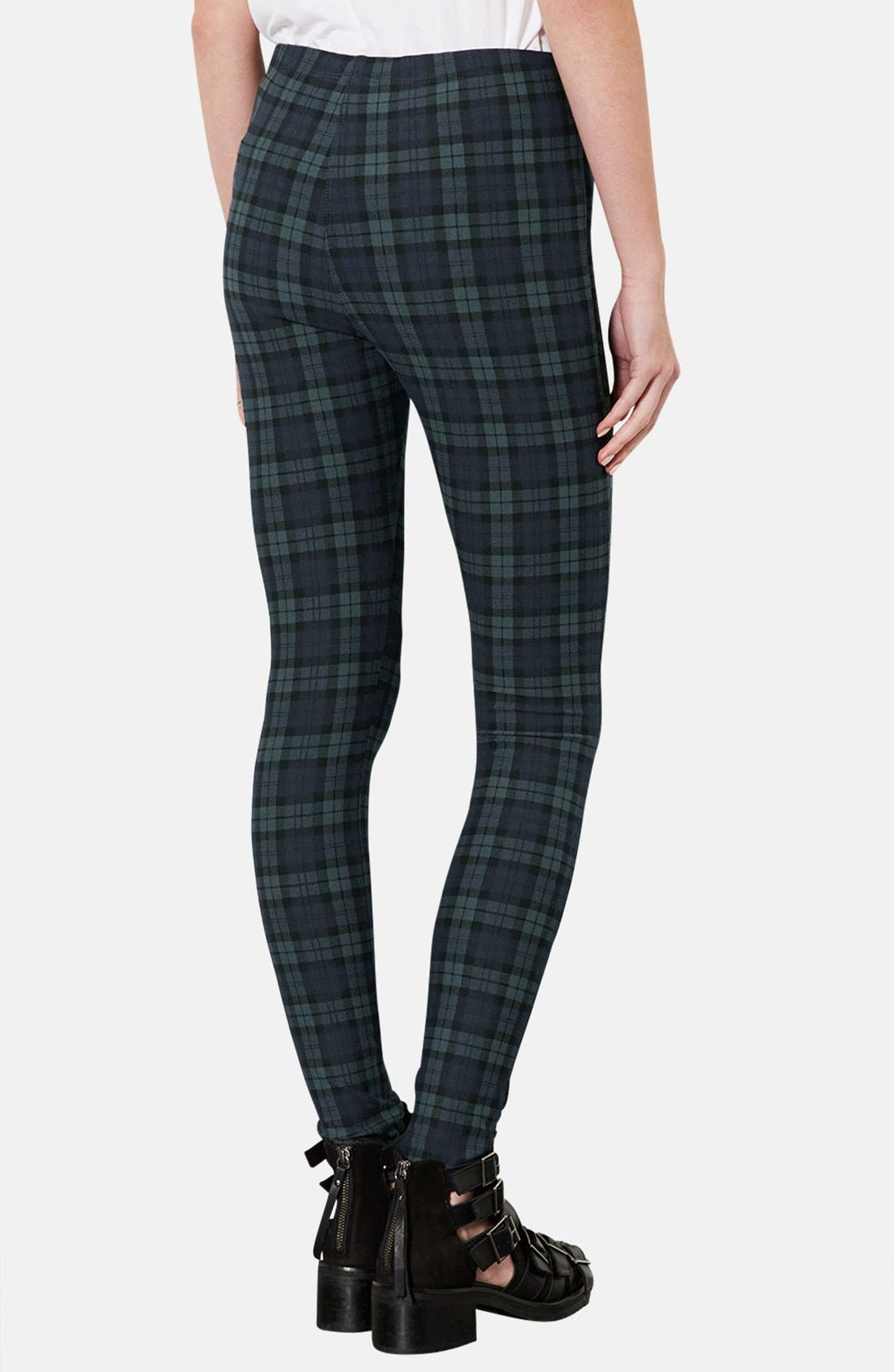 Alternate Image 2  - Topshop Checkered Denim Leggings