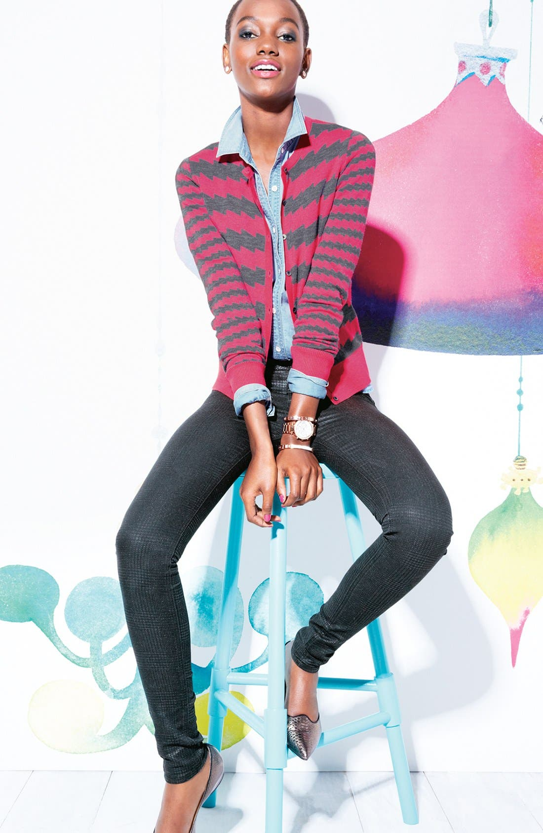 Alternate Image 4  - KUT from the Kloth 'Mia' Toothpick Skinny Jeans (Black)