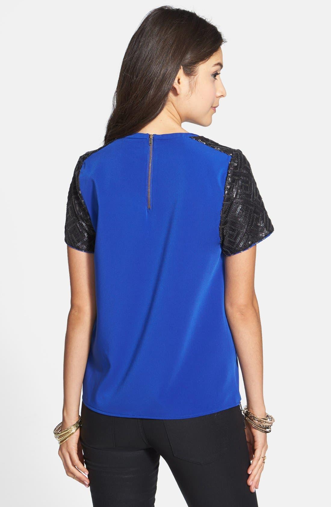 Alternate Image 2  - C. Luce Sequin Sleeve Top (Juniors)