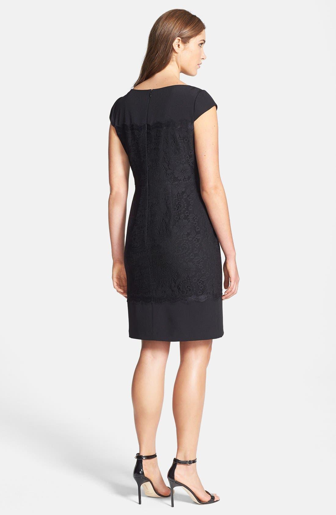 Alternate Image 3  - Adrianna Papell Scalloped Lace Sheath Dress (Regular & Petite)