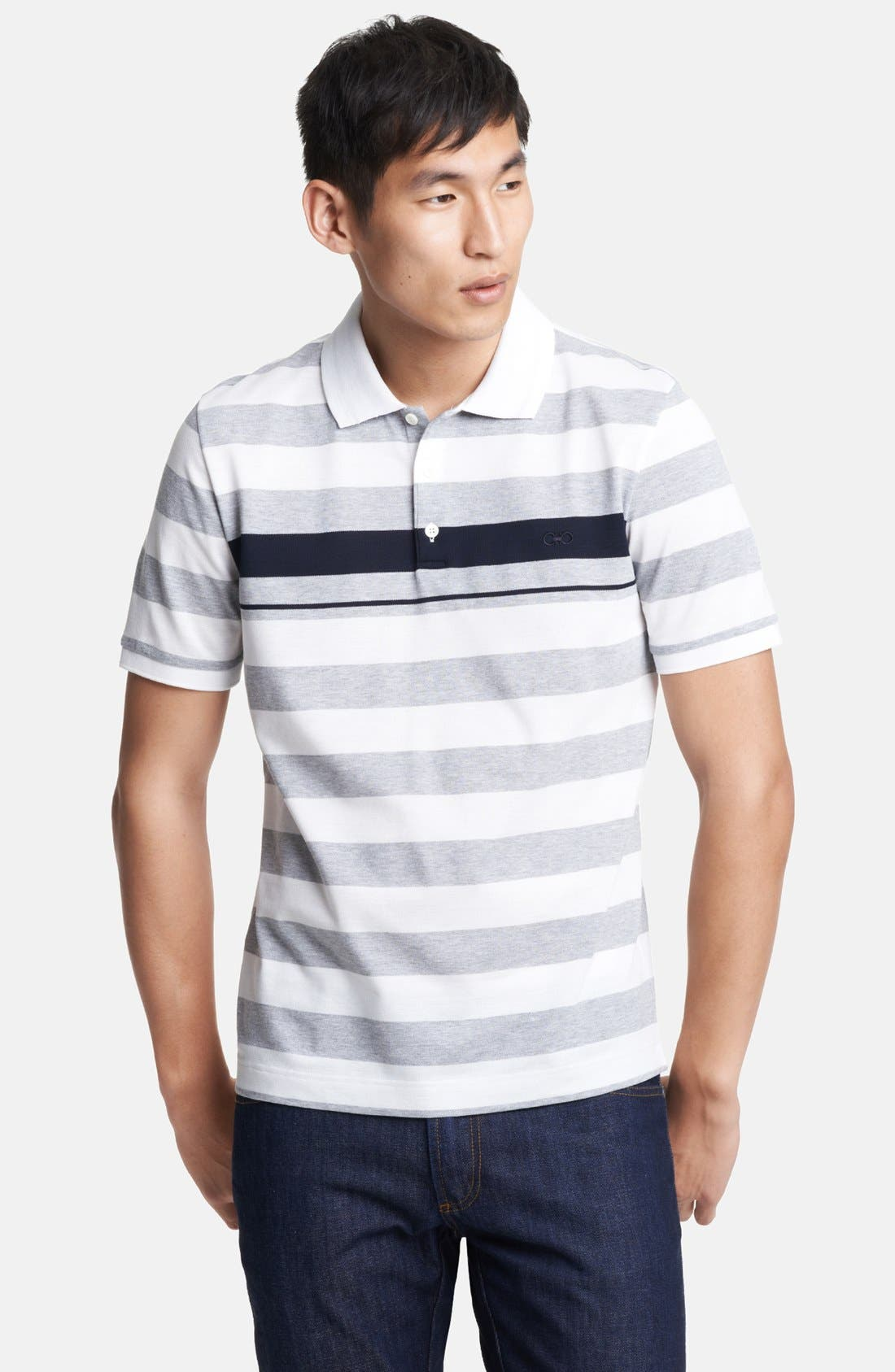Main Image - Salvatore Ferragamo Trim Fit Stripe Polo