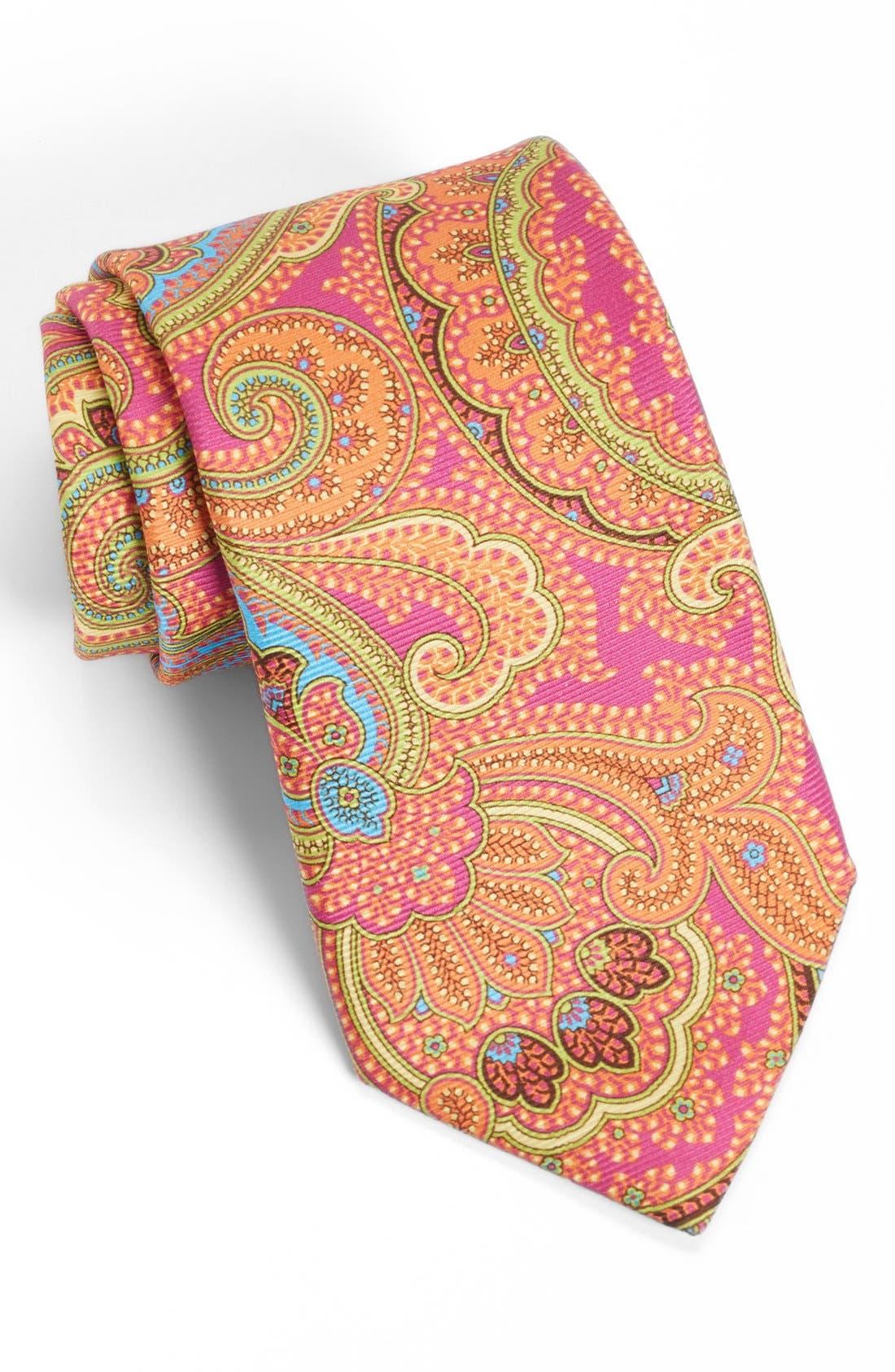 Woven Silk Tie,                         Main,                         color, Fuschia/ Blue