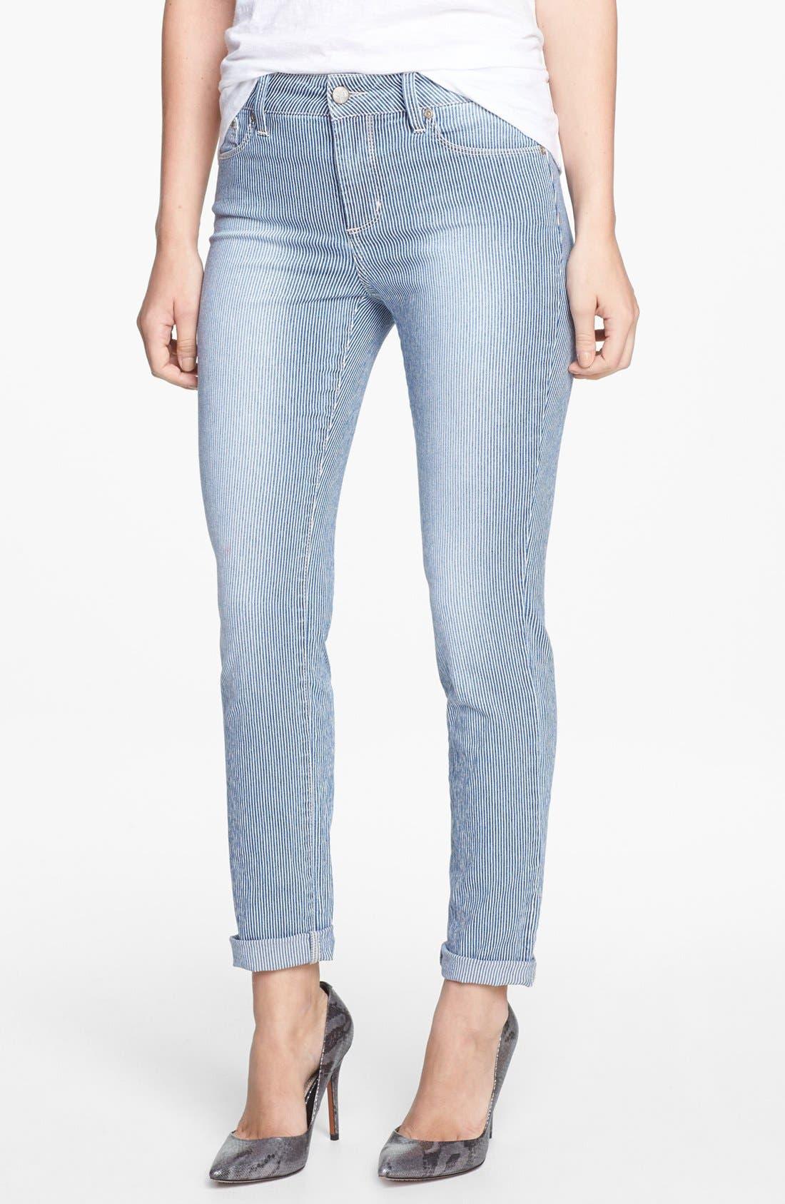 Main Image - NYDJ 'Leann' Stretch Skinny Boyfriend Jeans (Old West Stripe) (Petite)