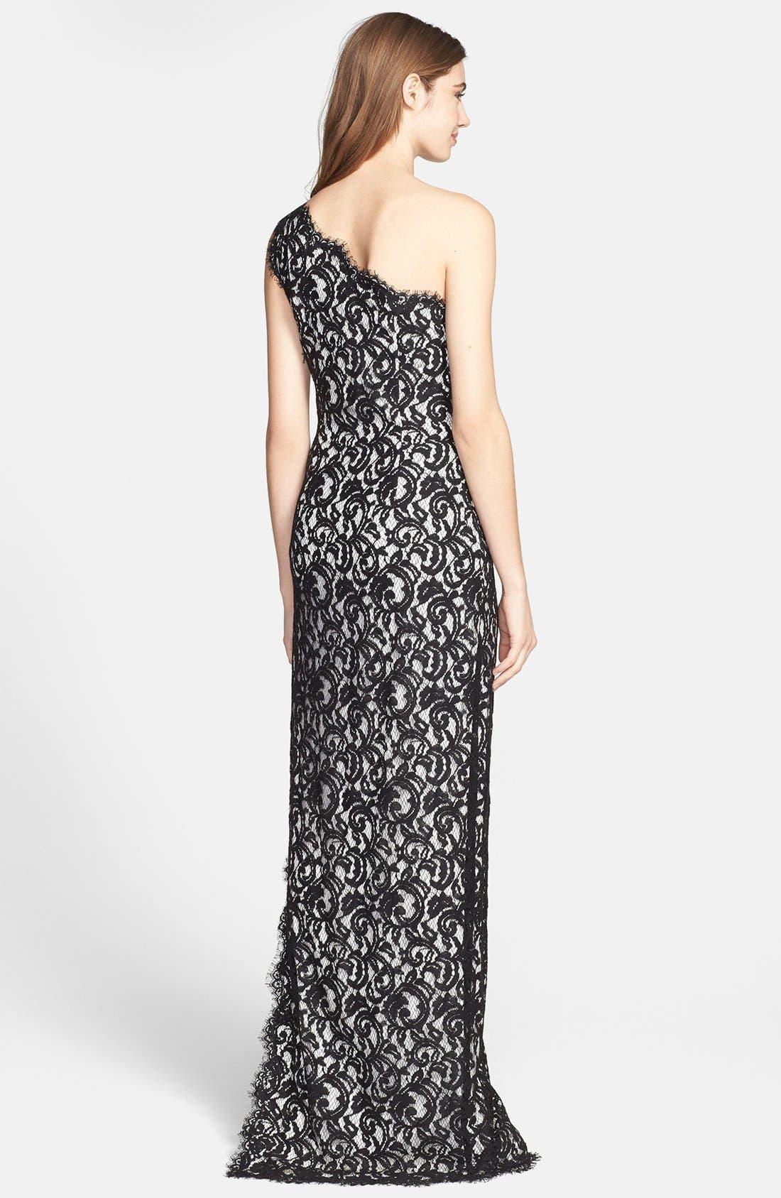 Alternate Image 2  - Tadashi Shoji One Shoulder Lace Gown