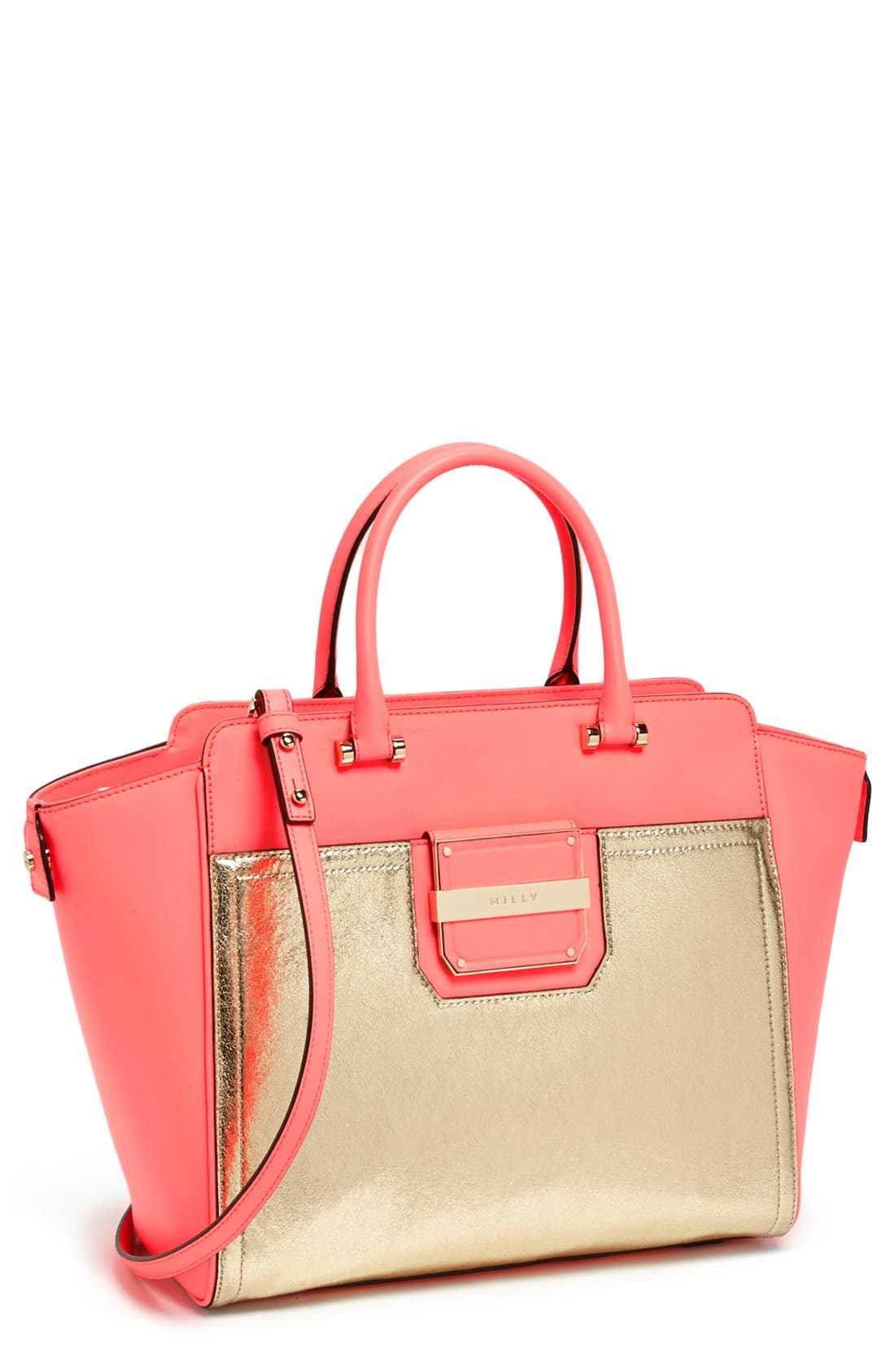 Alternate Image 1 Selected - Milly 'Colby' Metallic Leather Tote