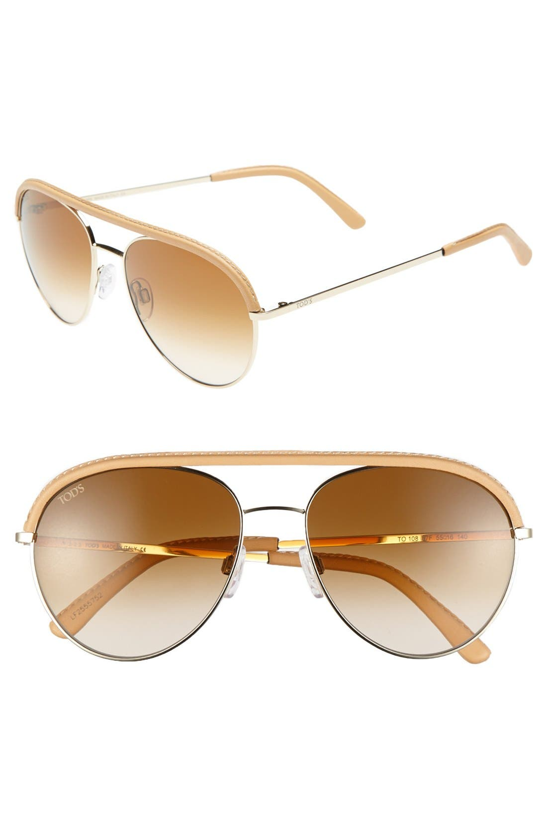 Alternate Image 1 Selected - Tod's 55mm Aviator Sunglasses
