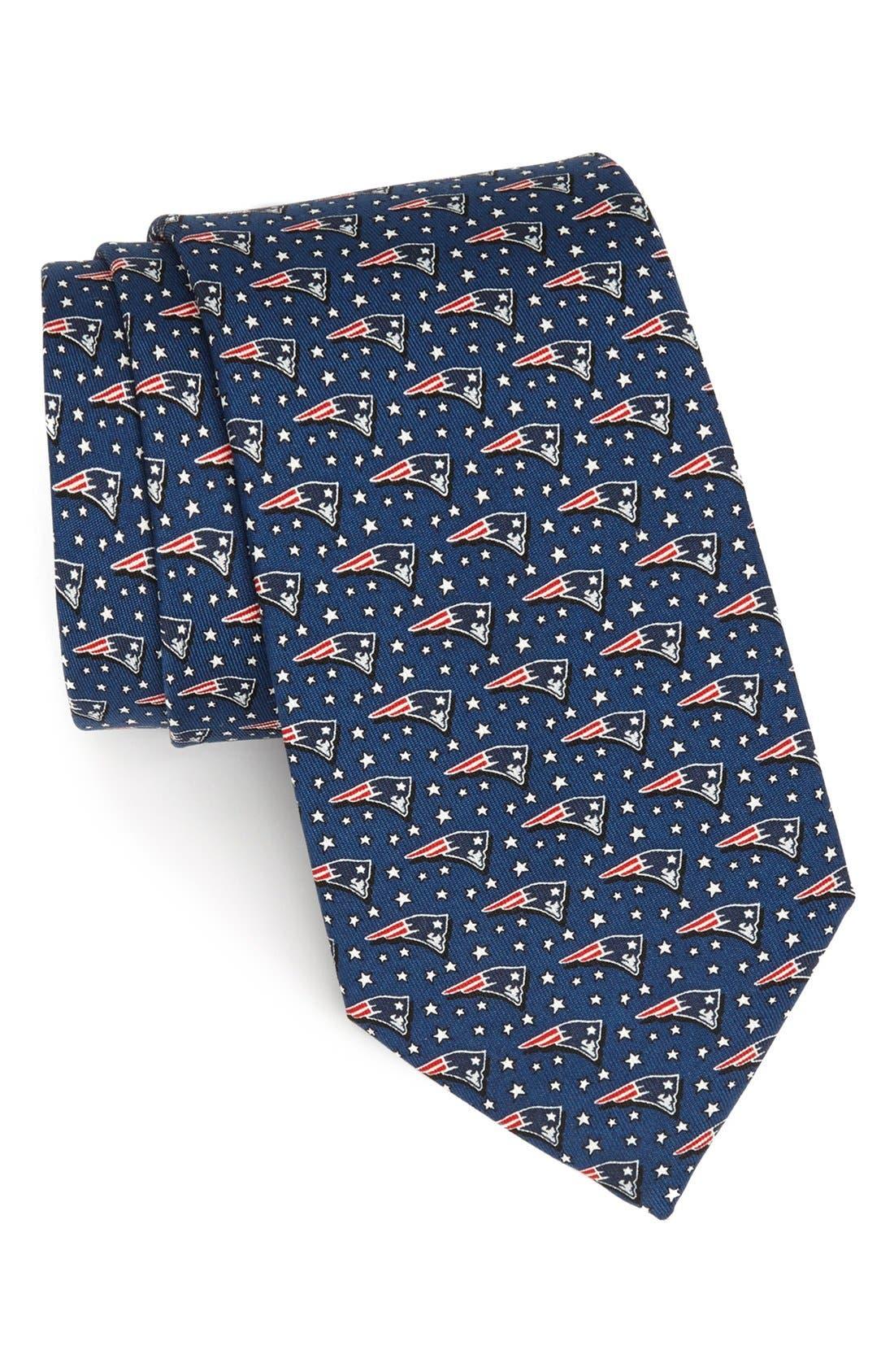 New England Patriots Print Tie,                         Main,                         color, Navy
