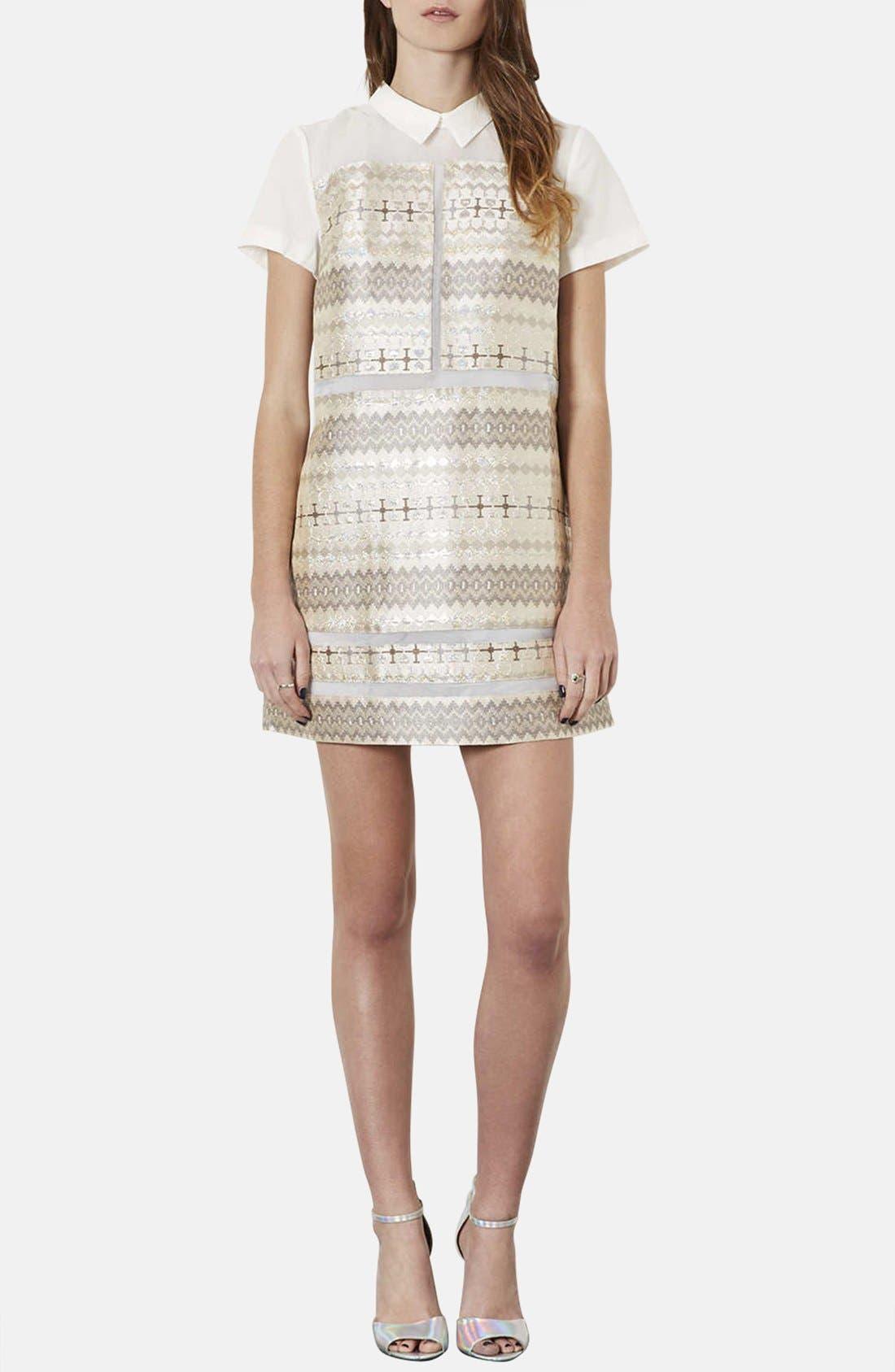 Main Image - Topshop Annabel Metallic Jacquard Shift Dress