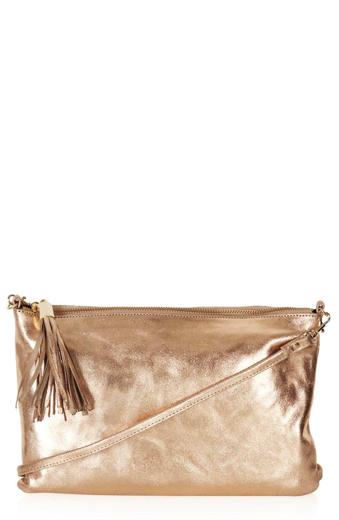 'Metallic Crackle' Zip Top Clutch,                         Main,                         color, Bronze