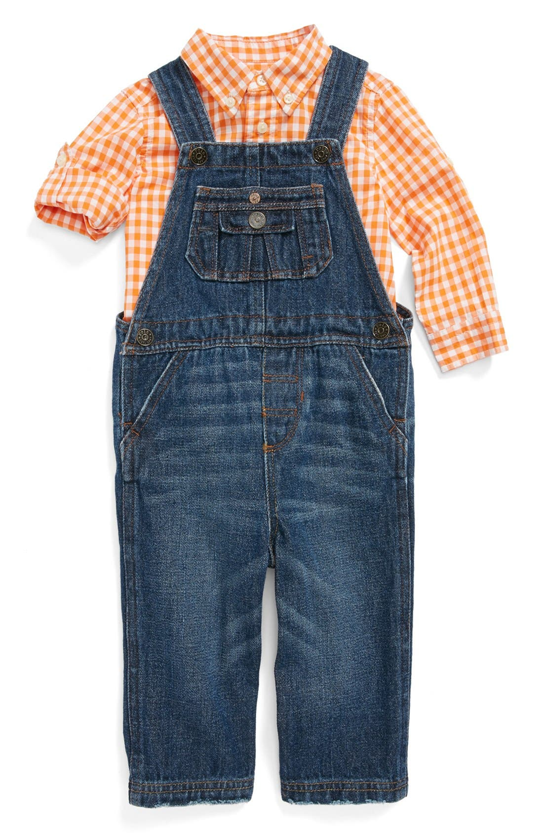 Main Image - Ralph Lauren Woven Check Shirt & Denim Overalls (Baby Boys)