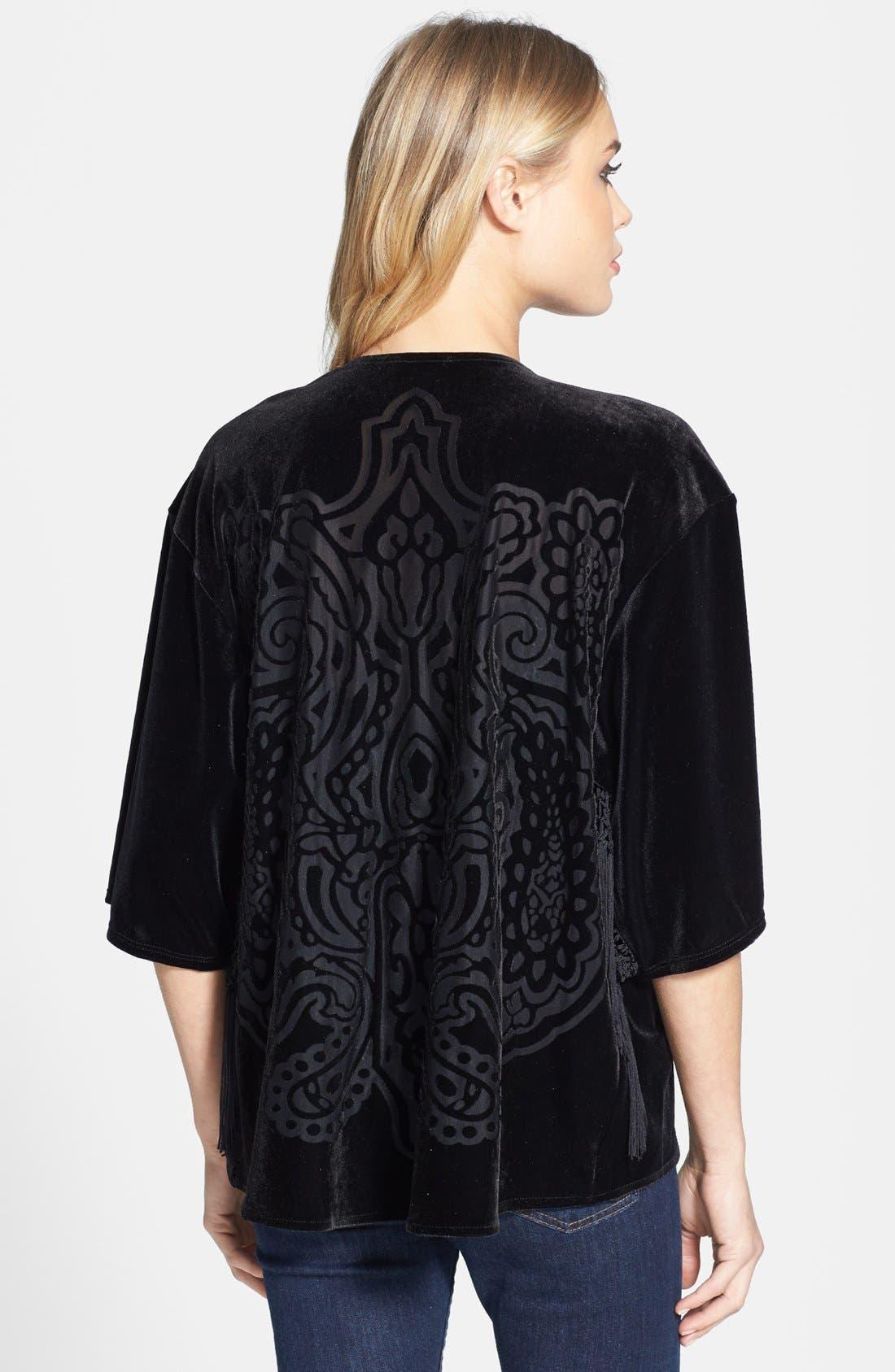 Alternate Image 2  - Topshop Fringe Burnout Kimono Jacket