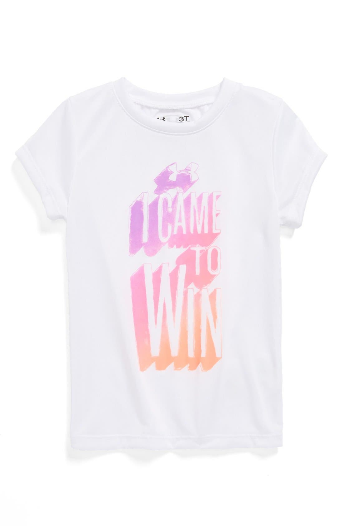 Alternate Image 1 Selected - Under Armour 'I Came to Win' Tee (Toddler Girls)