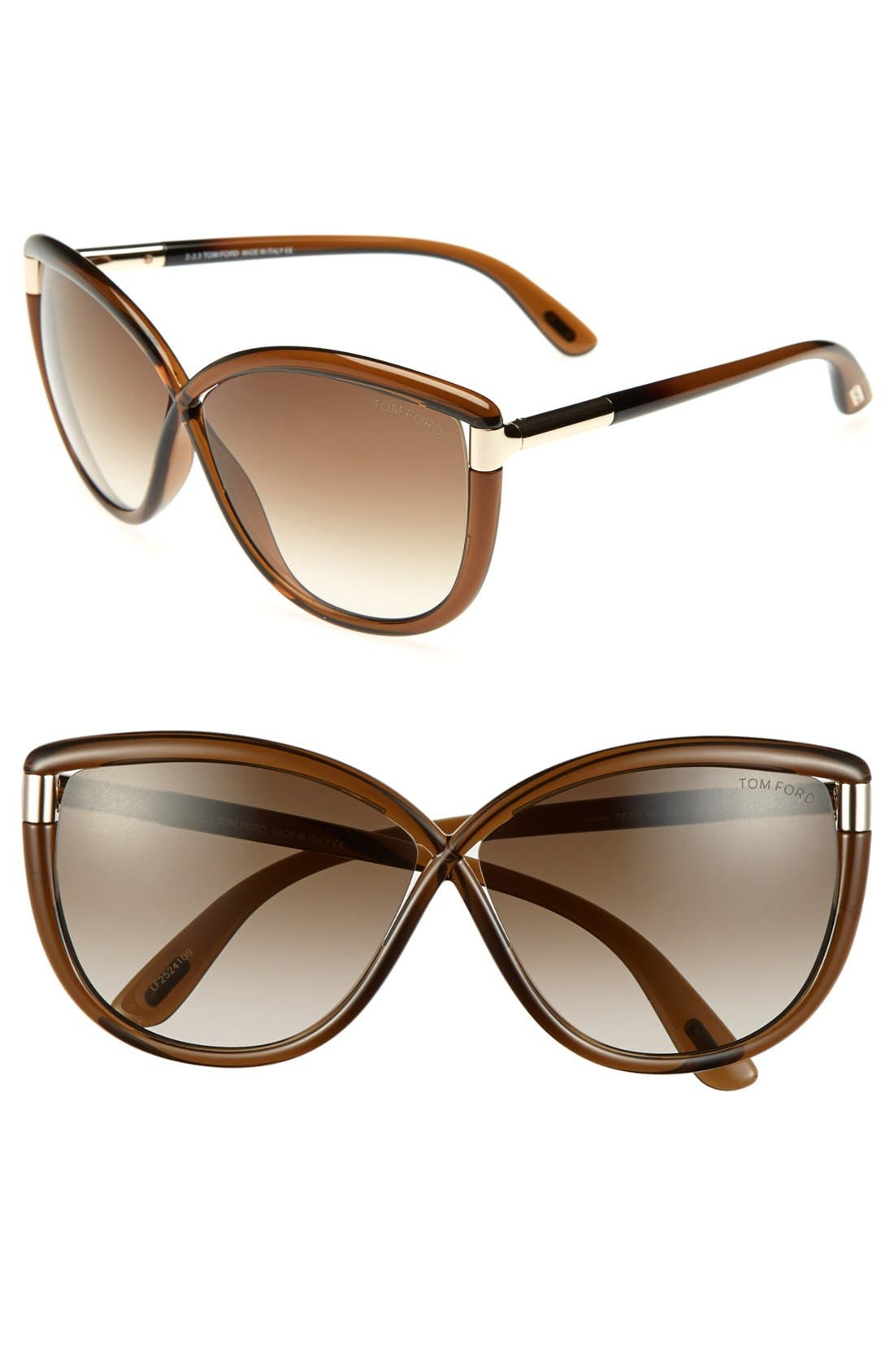'Abbey' 63mm Oversized Sunglasses,                         Main,                         color, Dark Transparent Brown