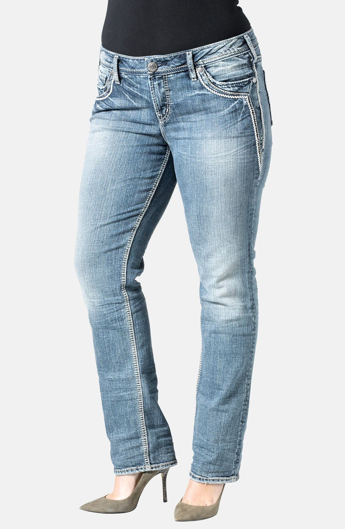 Alternate Image 1 Selected - Silver Jeans Co. 'Aiko' Straight Leg Jeans (Indigo) (Plus Size)