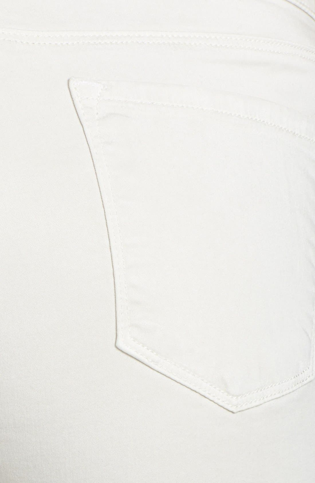 Alternate Image 4  - J Brand '485' Mid Rise Super Skinny Jeans (Chalk)