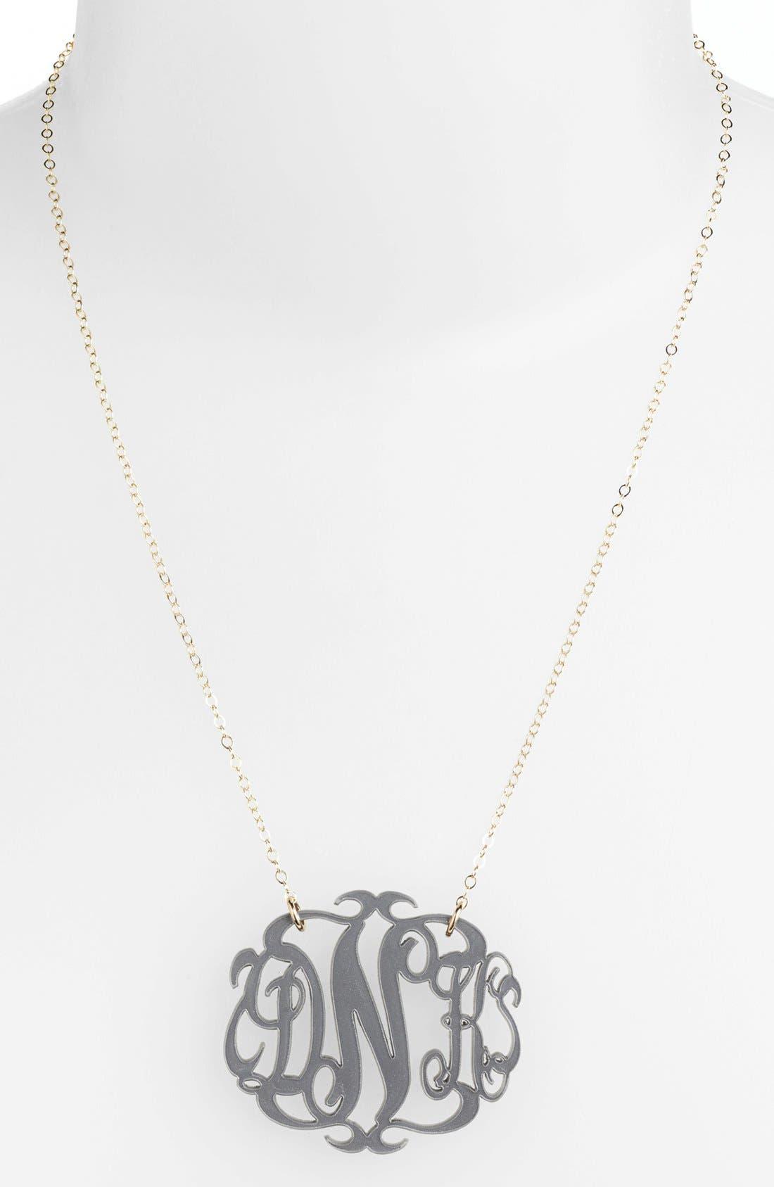 Large Oval Personalized Monogram Pendant Necklace,                             Main thumbnail 1, color,                             Gunmetal/ Gold
