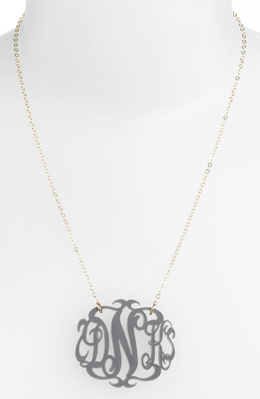 Large Oval Personalized Monogram Pendant Necklace,                         Main,                         color, Gunmetal/ Gold