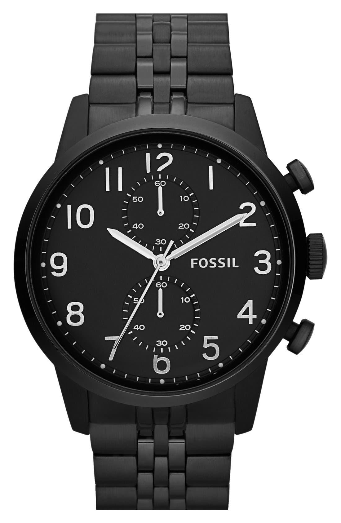 Alternate Image 1 Selected - Fossil 'Townsman' Round Bracelet Watch, 44mm