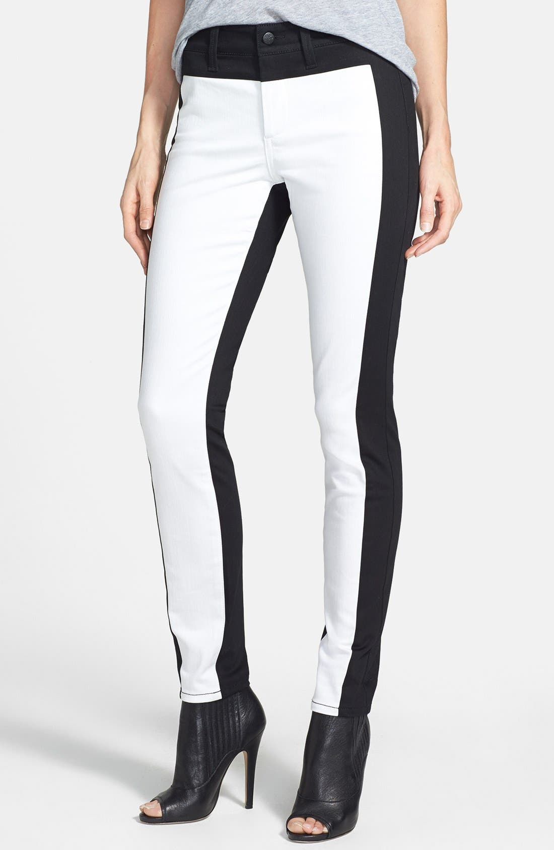 Main Image - NYDJ 'Aurora' Two-Tone Stretch Skinny Jeans (Optic White/Black)