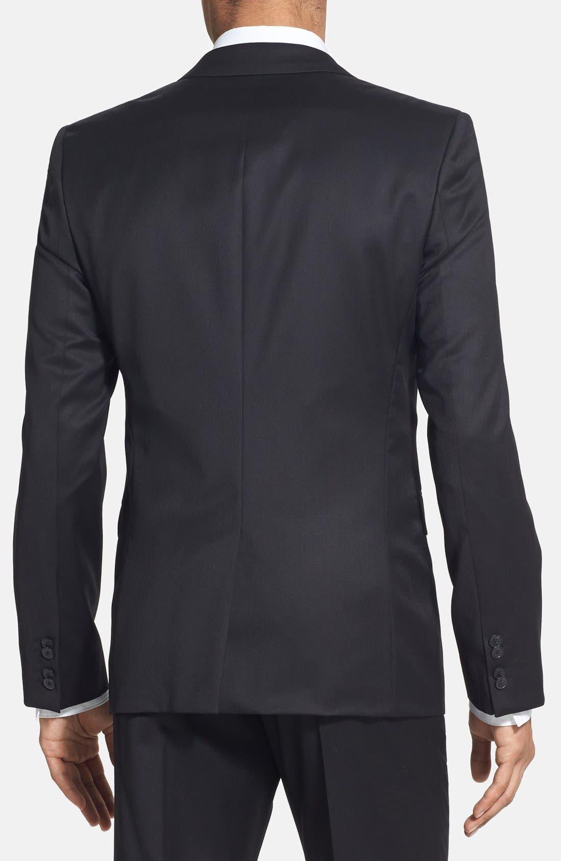 Alternate Image 4  - HUGO 'Aeron/Hamen - Super Black' Extra Trim Fit Wool Suit