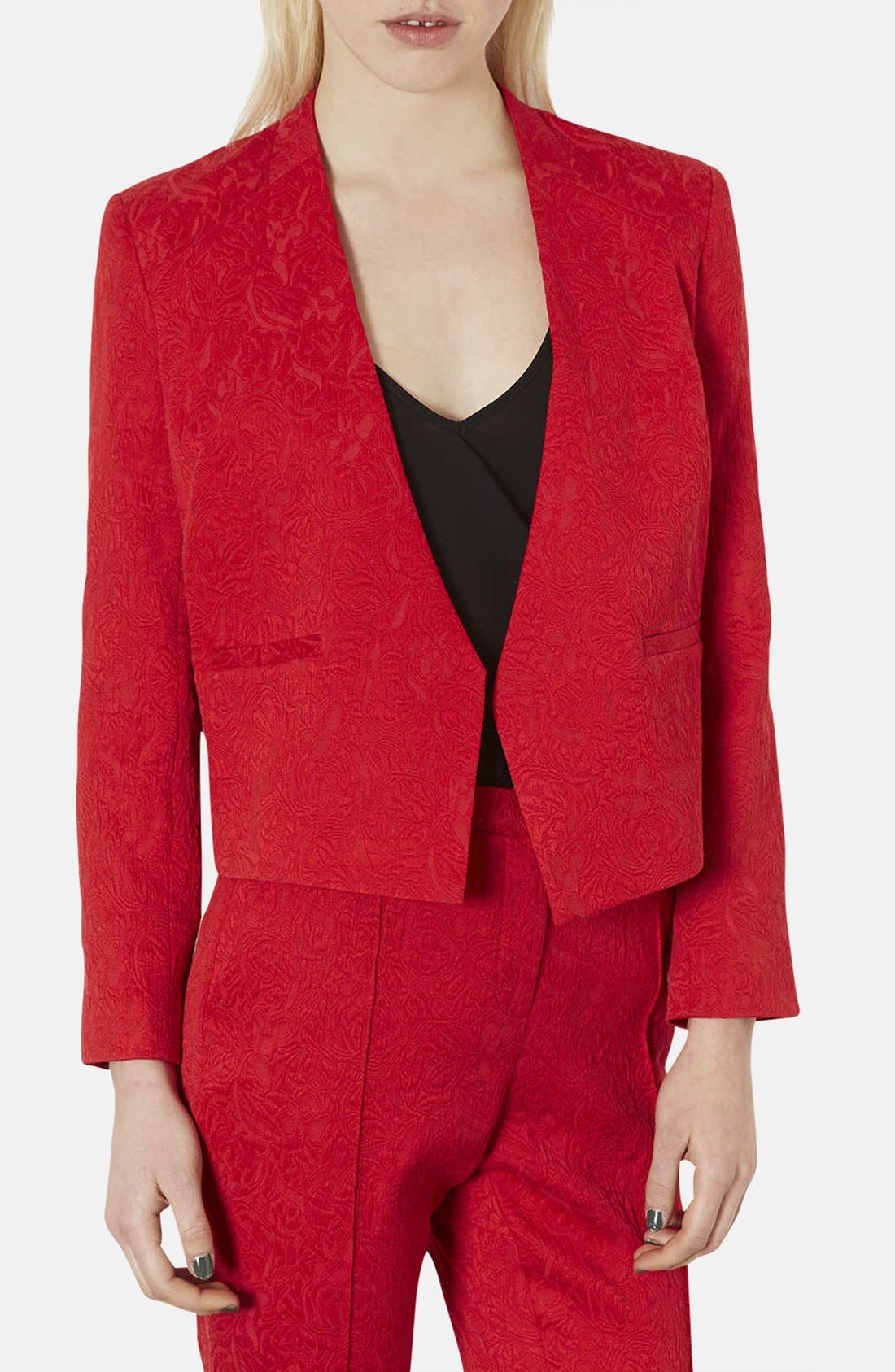 Alternate Image 1 Selected - Topshop Tailored Embossed Blazer