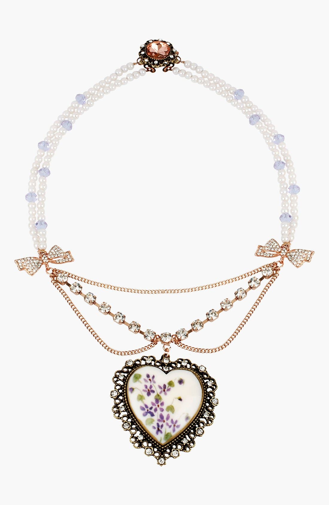 Main Image - Betsey Johnson 'Vintage Bow' Heart Pendant Necklace