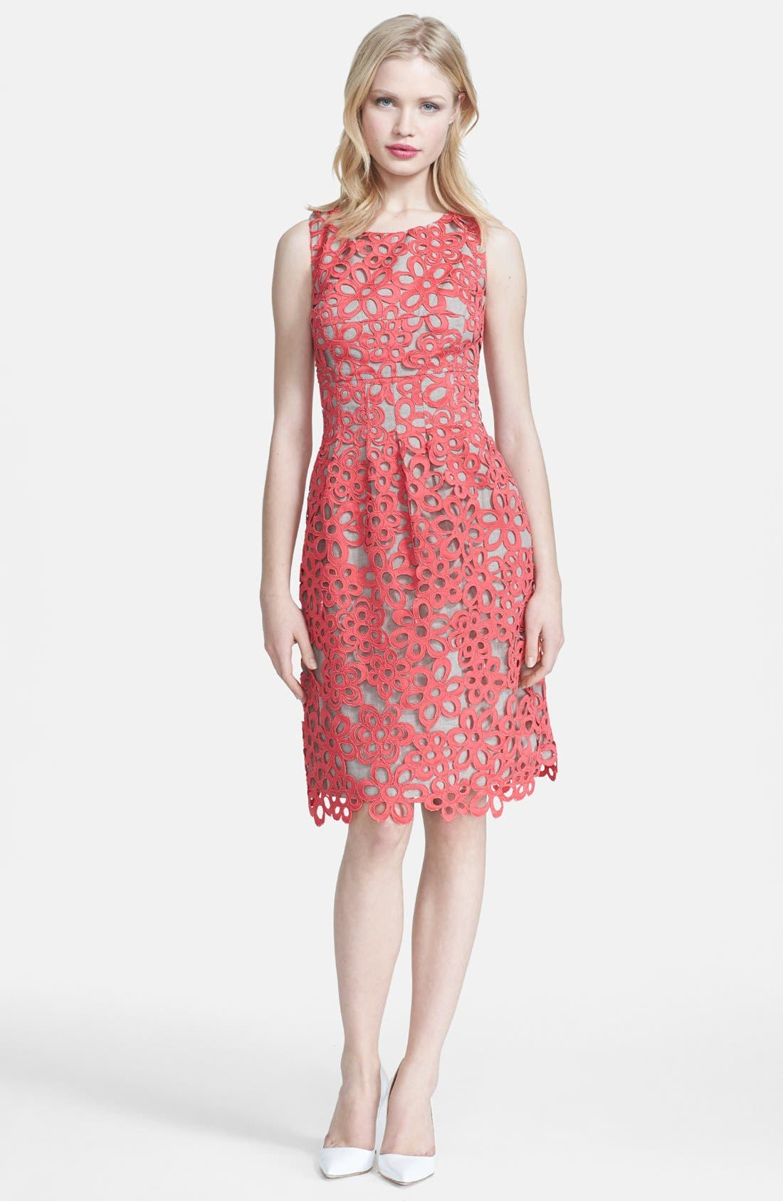 Main Image - Lela Rose Embellished Lace & Linen Sheath Dress