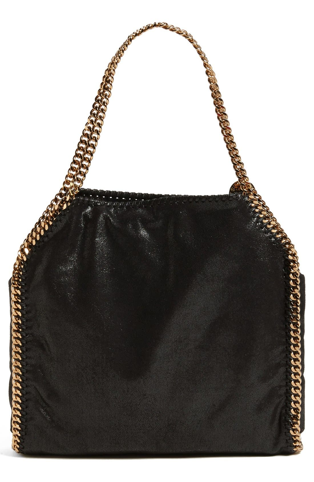 'Small Falabella - Shaggy Deer' Faux Leather Tote,                             Alternate thumbnail 3, color,                             Black