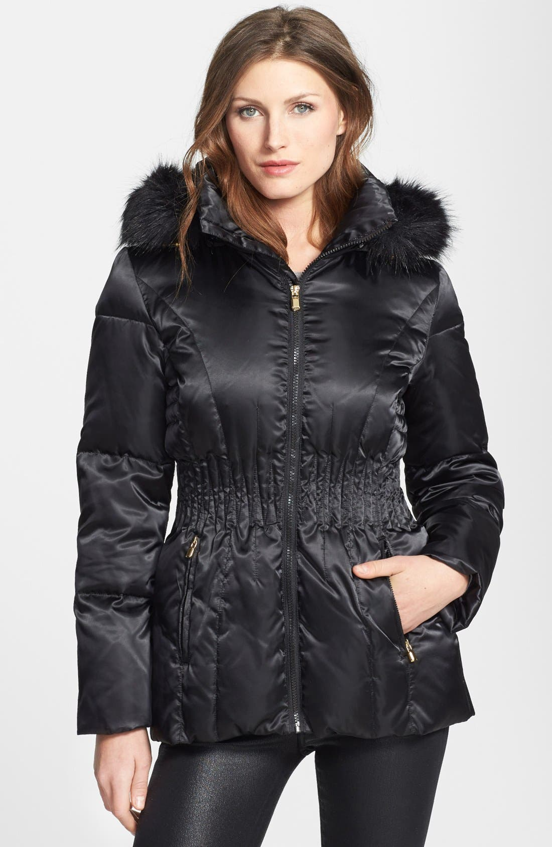 Main Image - Laundry by Shelli Segal Hooded Down & Feather Coat with Faux Fur Trim