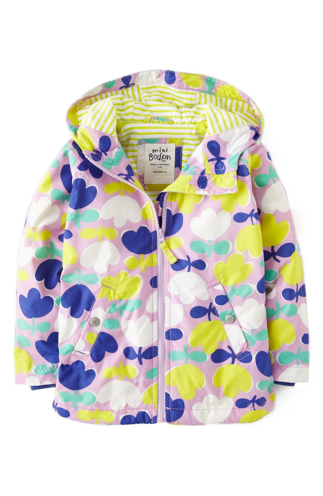 Alternate Image 1 Selected - Mini Boden Jersey Lined Hooded Anorak (Toddler Girls, Little Girls & Big Girls)