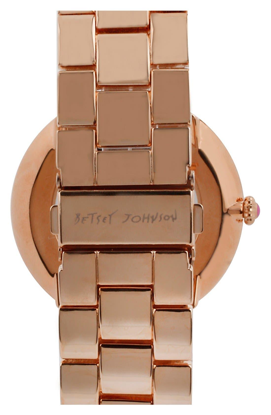 Alternate Image 2  - Betsey Johnson Crystal Bezel Swirl Dial Bracelet Watch, 48mm