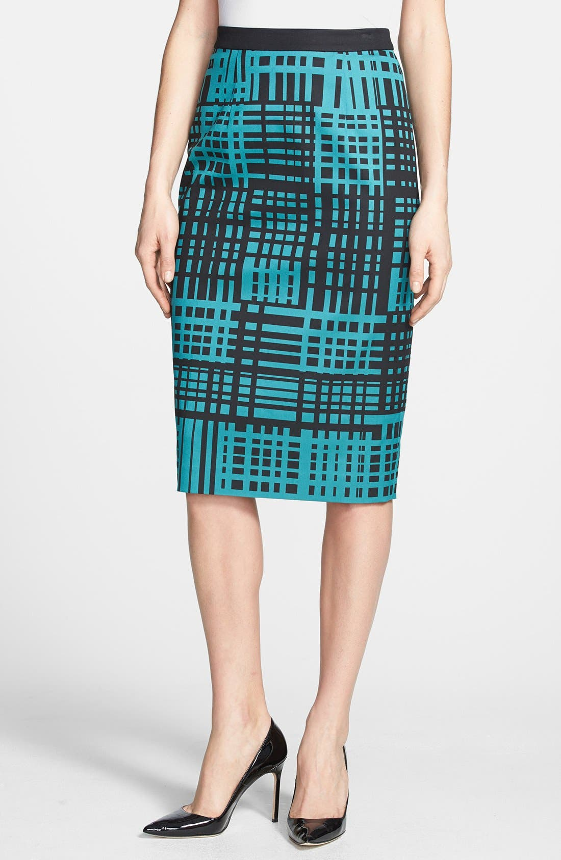 Print Pencil Skirt,                             Main thumbnail 1, color,                             Black/ Teal Bayou Combo