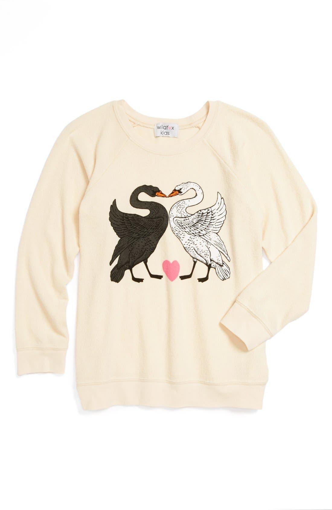 Main Image - Wildfox 'Kissing Swans' Sweatshirt (Big Girl)