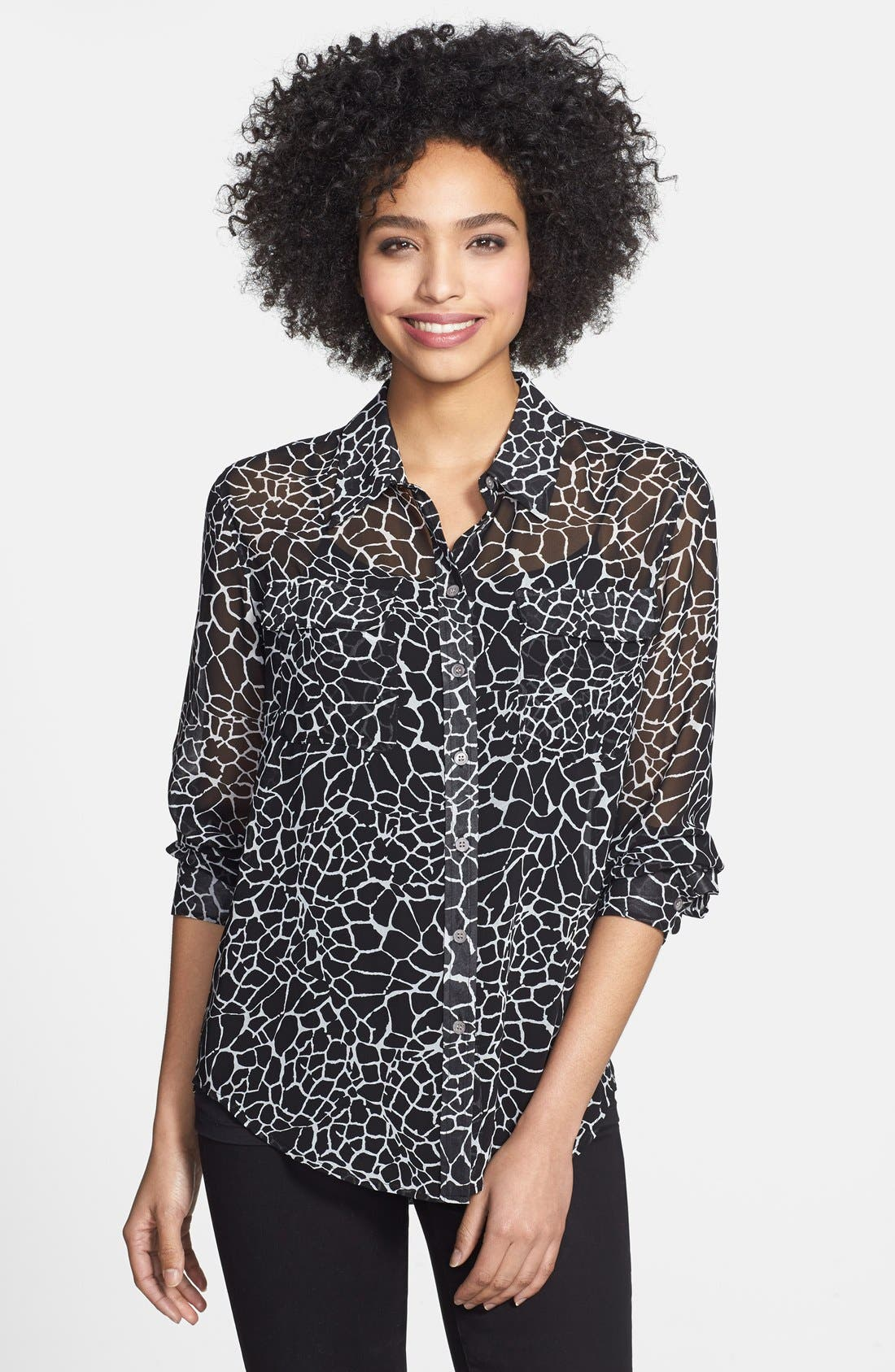 Main Image - Two by Vince Camuto Giraffe Print Utility Shirt