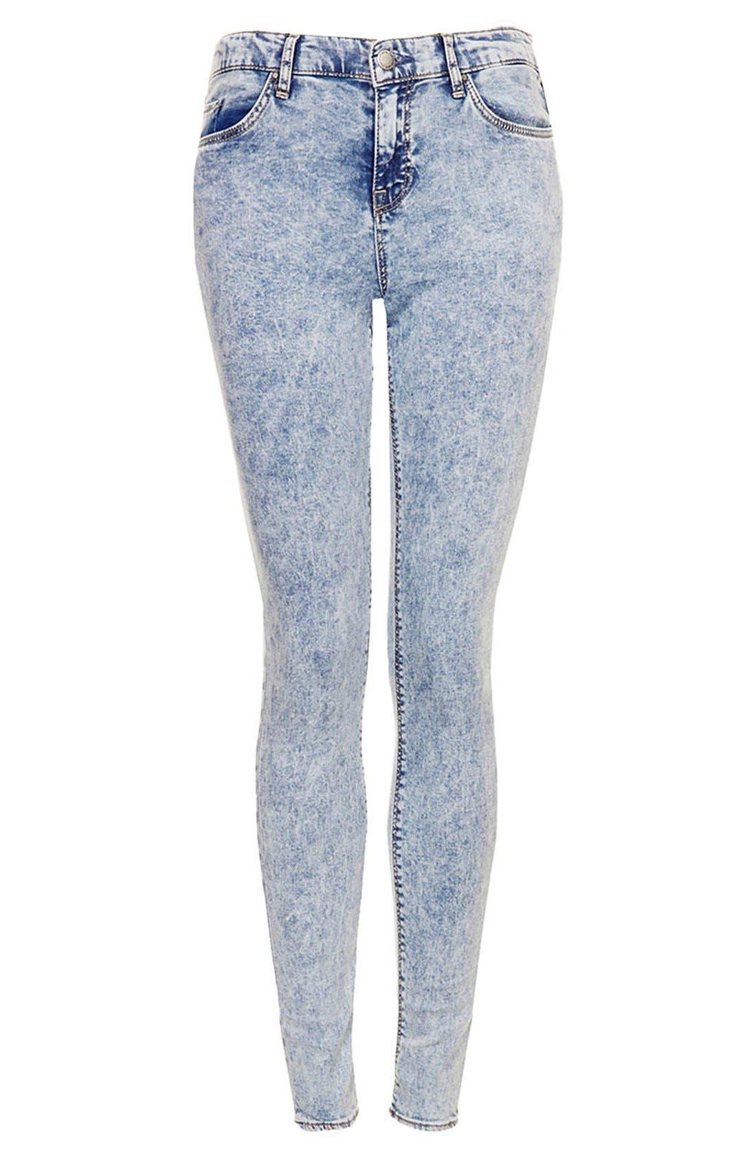 Alternate Image 3  - Topshop Moto 'Leigh' Acid Wash Skinny Jeans (Mid Stone) (Regular & Short)