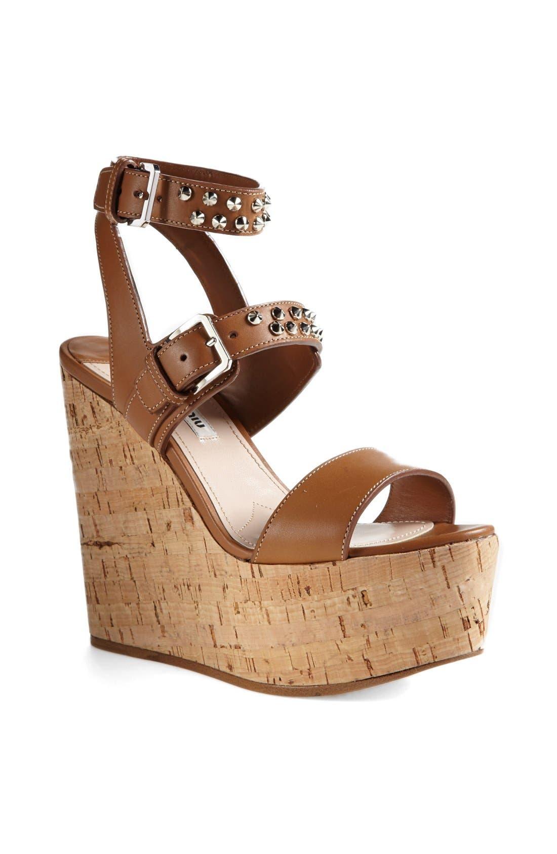 Main Image - Miu Miu Studded Wedge Sandal
