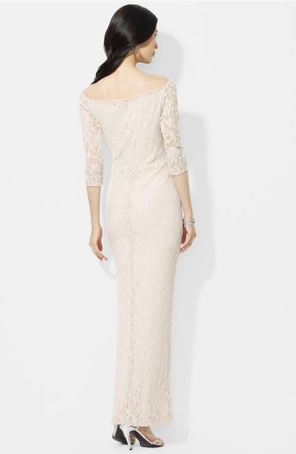 Lauren Ralph Lauren Bateau Neck Sequin Lace Gown (Regular & Petite ...
