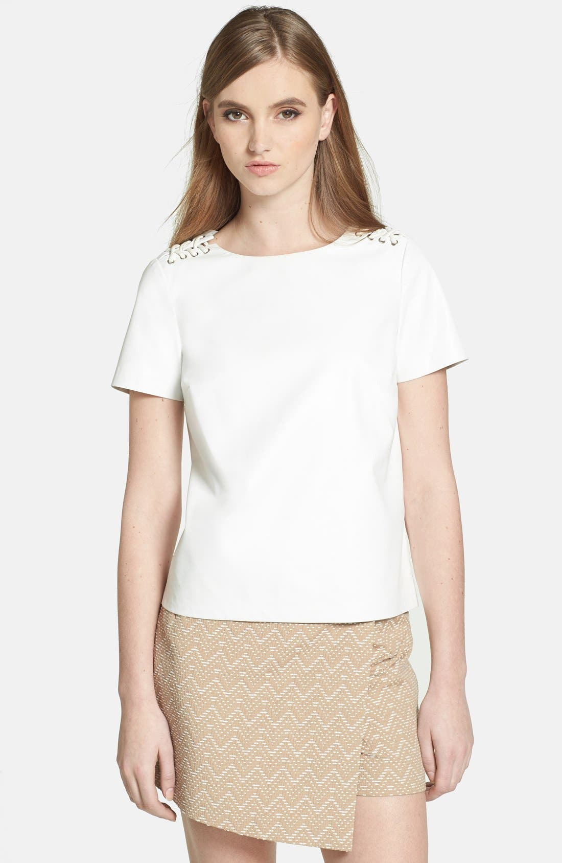 Alternate Image 1 Selected - 1.STATE Lace Up Shoulder Faux Leather Top