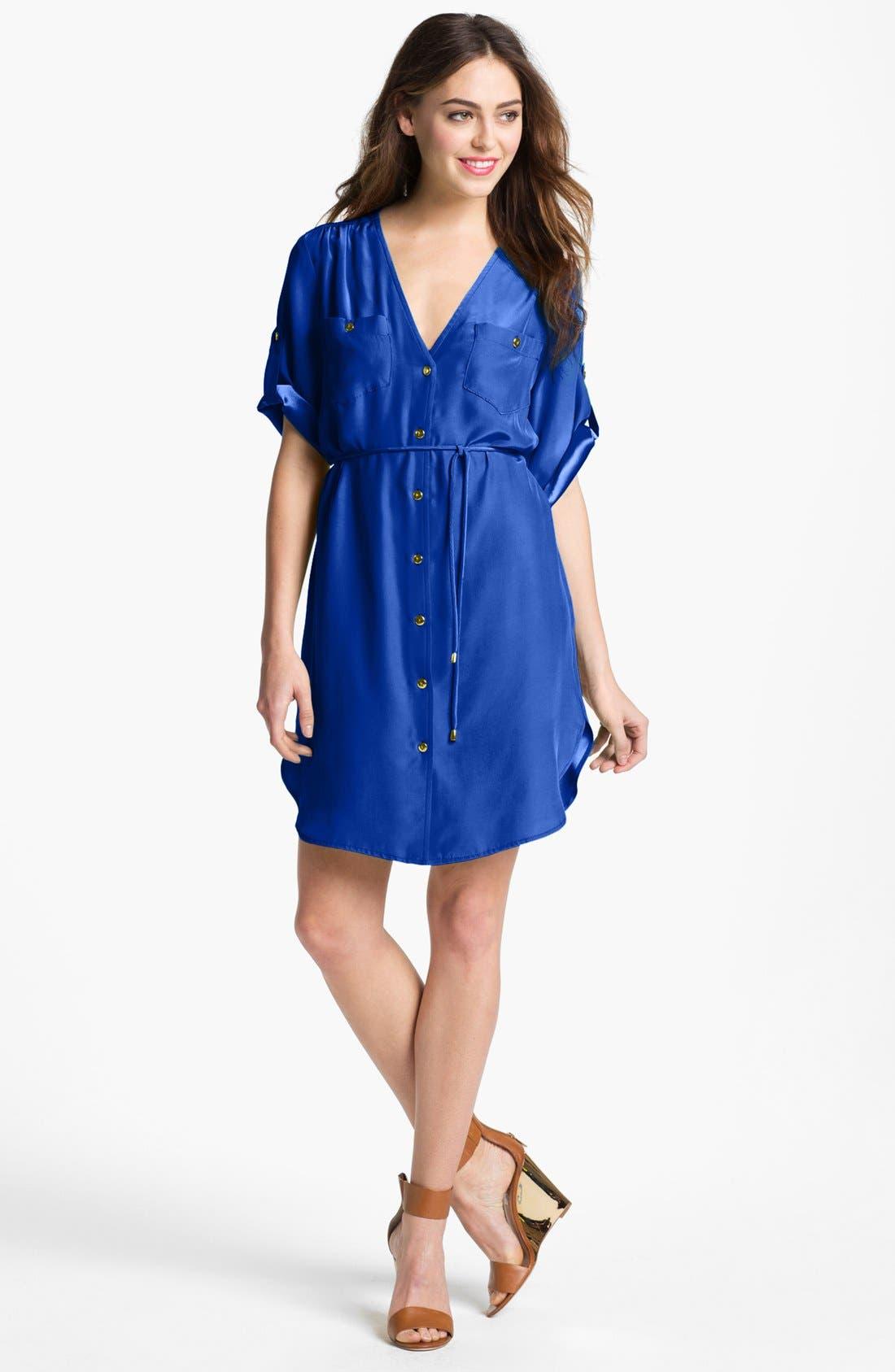 Main Image - Amanda Uprichard Roll Sleeve Silk Shirtdress