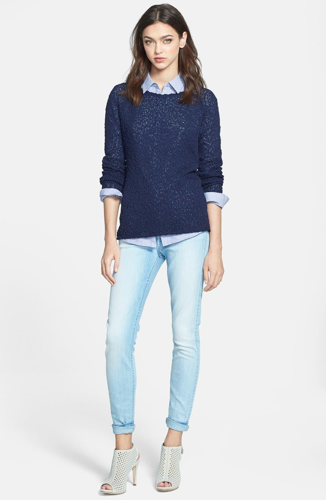 Alternate Image 4  - Hinge® Lace Yoke Dot Print Shirt