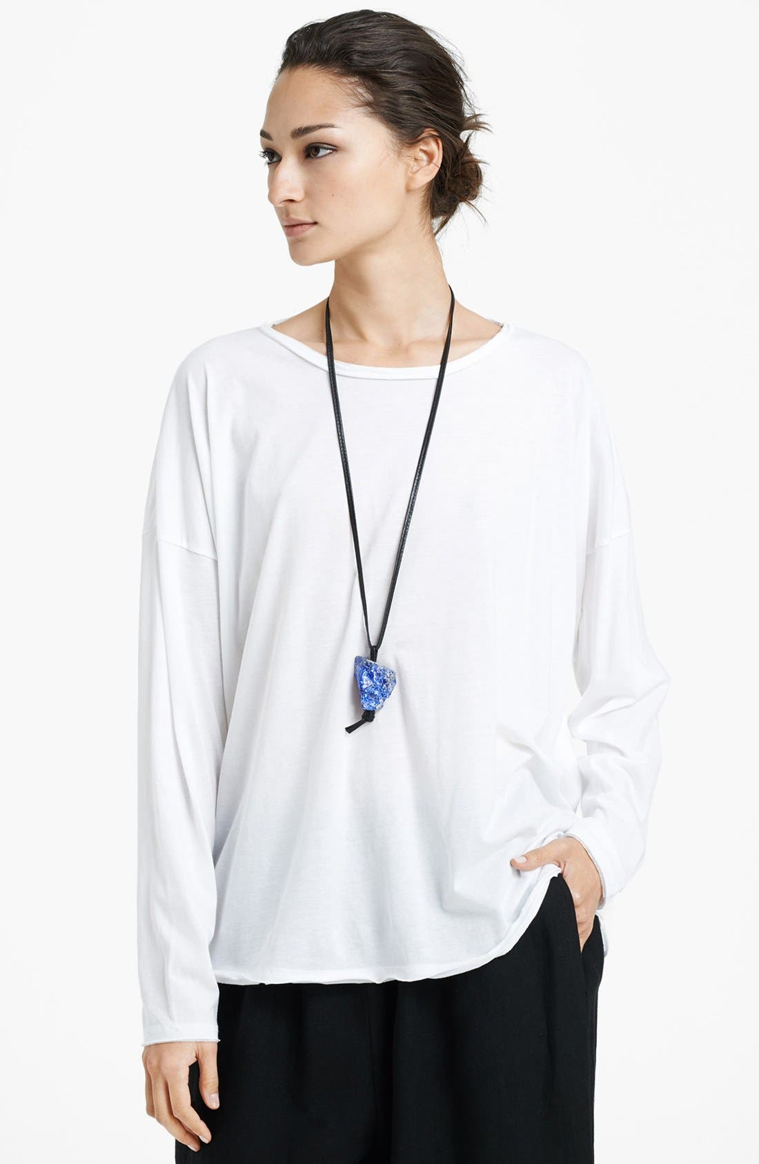 Alternate Image 1 Selected - eskandar Long Sleeve Boatneck Linen Tee