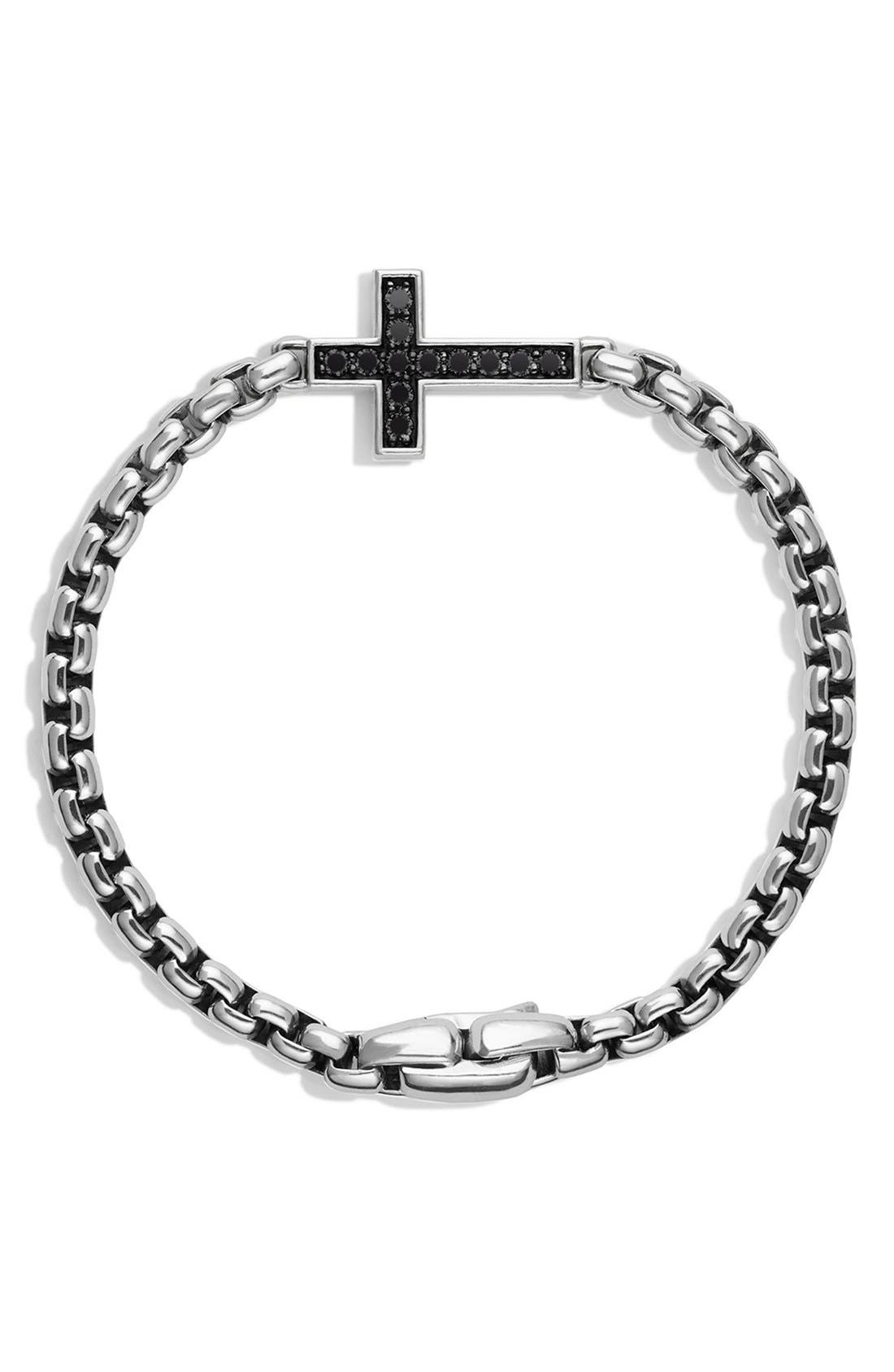 Pavé Black Diamond Cross Station Bracelet,                             Main thumbnail 1, color,                             Black Diamond
