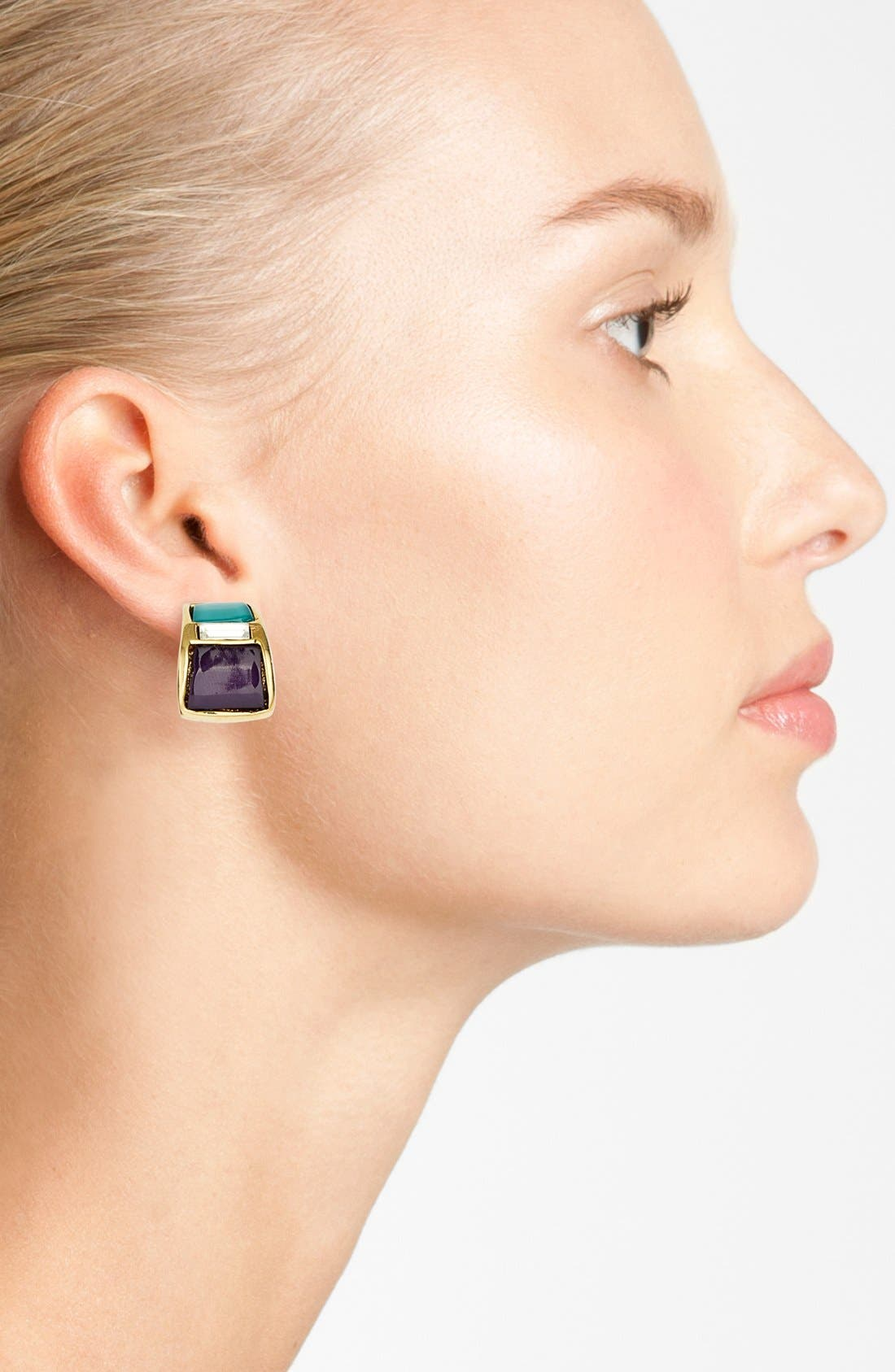 Alternate Image 2  - Anne Klein Small Clip-On Hoop Earrings