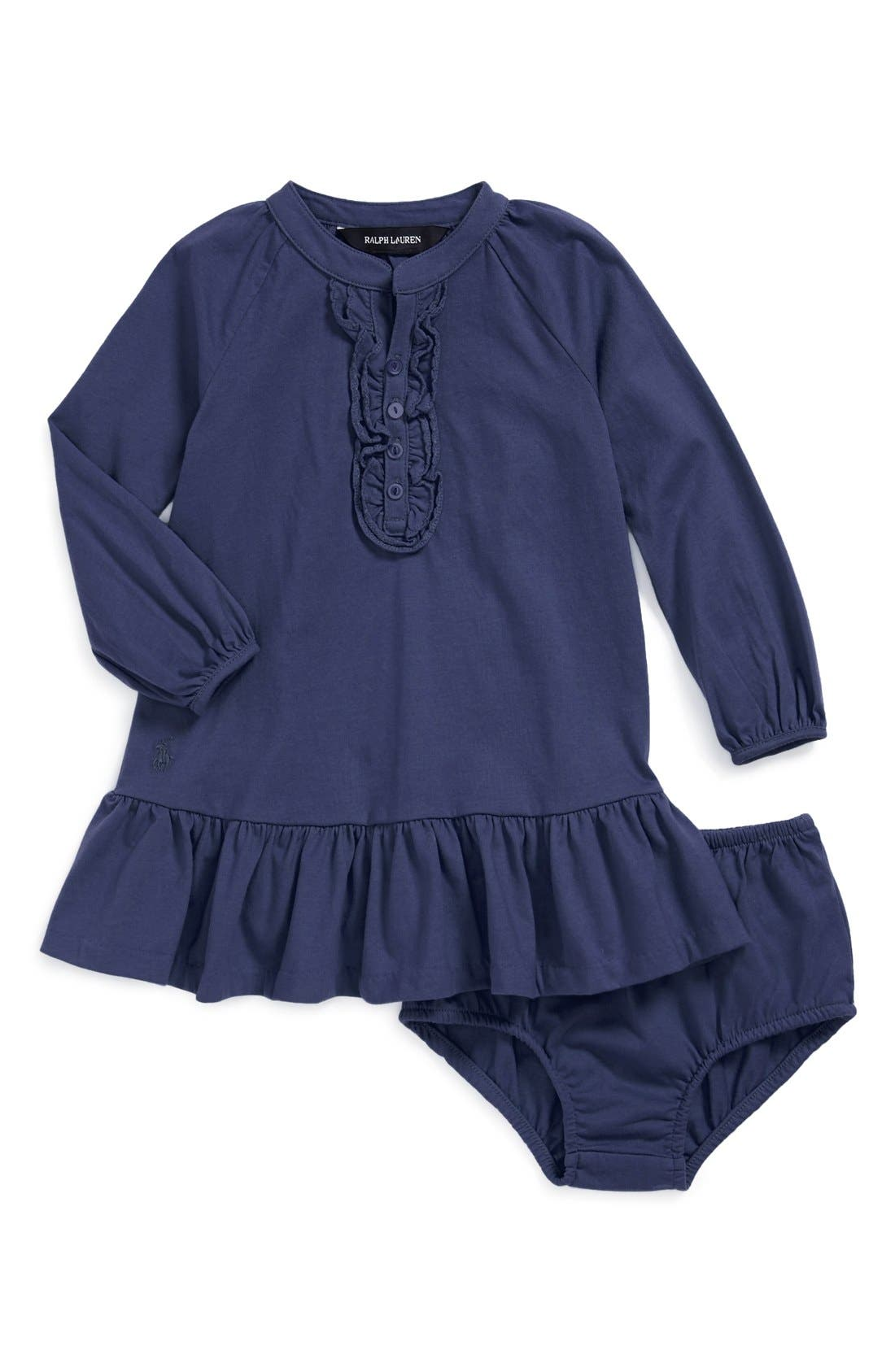 Alternate Image 1 Selected - Ralph Lauren Dress & Bloomers (Baby Girls)