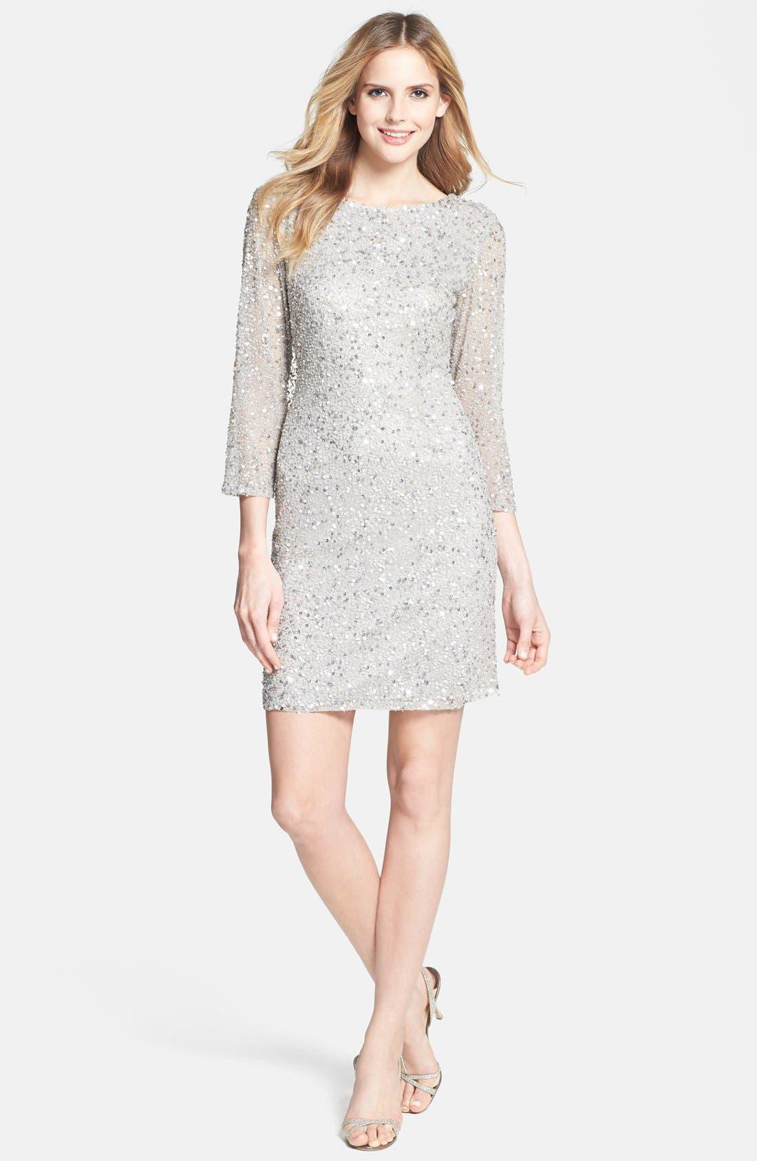 Cowl Back Sequin & Bead Dress,                             Alternate thumbnail 2, color,                             Silver