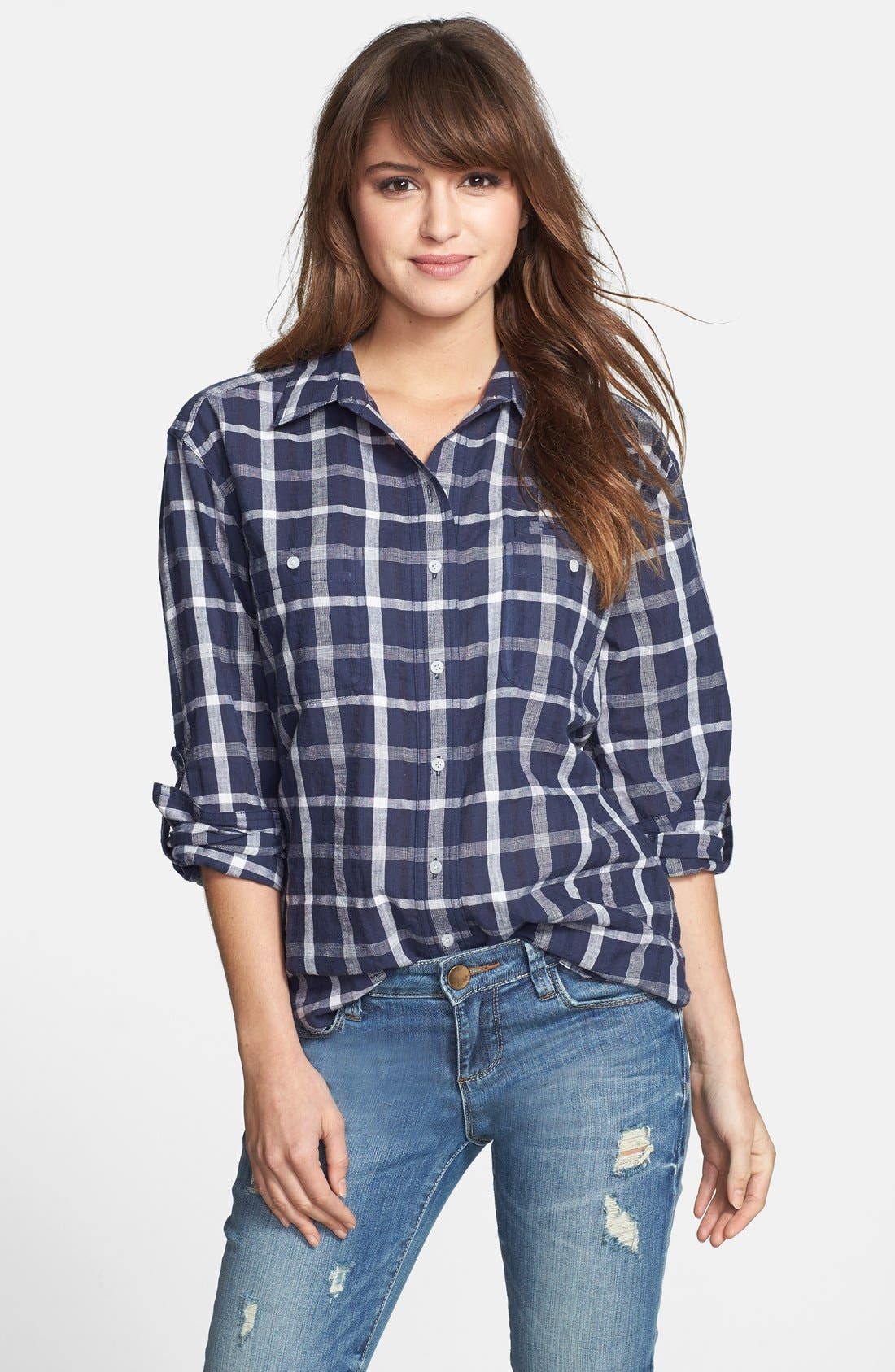 Main Image - Sandra Ingrish Windowpane Plaid Boyfriend Shirt