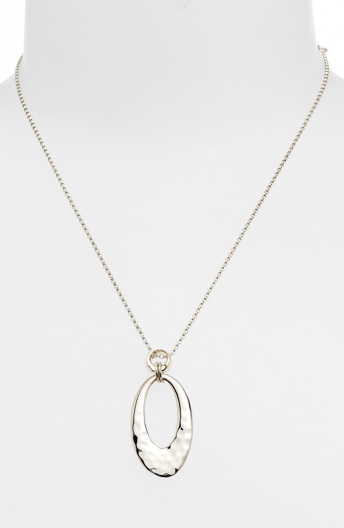 Alternate Image 1 Selected - Judith Jack 'Oahu' Hammered Oval Pendant Necklace